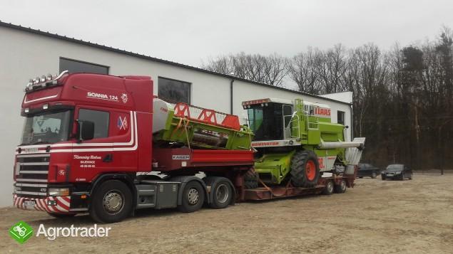 Transport kombajnów sieczkarni maszyn Claas Fent MF Holland Bizon - zdjęcie 2
